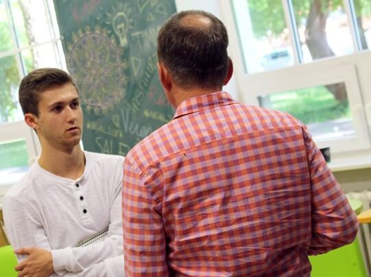 Senior Ryan Pace listens to feedback from entrepreneurship experts during his two-week visit to the University of Tartu in Estonia. NGAL students spend two weeks in Estonia at the University of Tartu's Idea Lab then they will travel to the College of Cha
