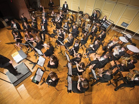Overhead view of an orchestra on stage