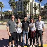 NWU math students and Dr. Austin Mohr (center) traveled to San Diego, Calif. where students listened to and presented research at the Joint Mathematics Meeting, which is the world's largest math conference.