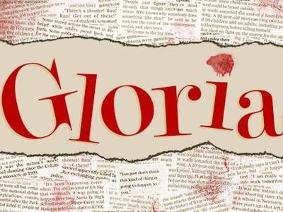 Gloria in red text over newspaper clippings