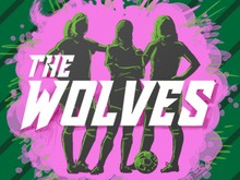 The Wolves in text over three female soccer players