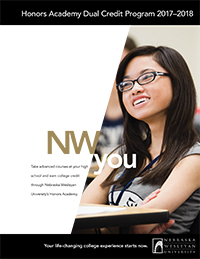 Honors Academy Dual Credit brochure cover artwork. Smiling student.