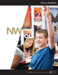 Honors Academy handbook cover art. Male student raising his hand.