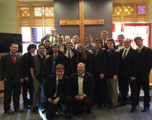Theta Chi Fraternity in church